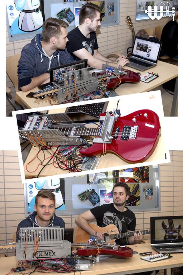 studenci podczas pracy nad projektem Servo Player