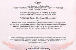 Certyfikat Lider Innowacji 2018