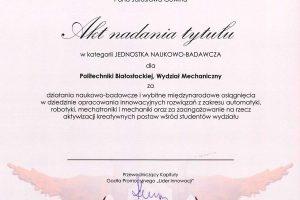 Akt nadania tytułu Lider Innowacji 2018