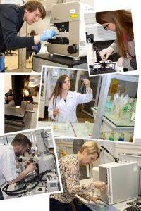 Kolaż zdjęć dotyczący kierunku Inżynieria materiałowa i wytwarzania