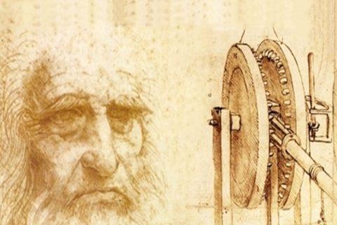 Po lewej stronie starszy mężczyzna, a po prawej maszyna techniczna