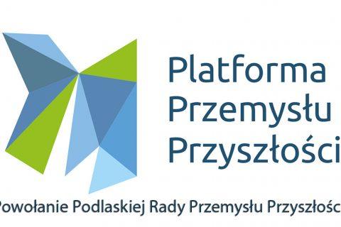Logotyp Platforma Przemysłu Przyszłości. Napis: Powołanie Podlaskiej Rady Przemysłu Przyszłości